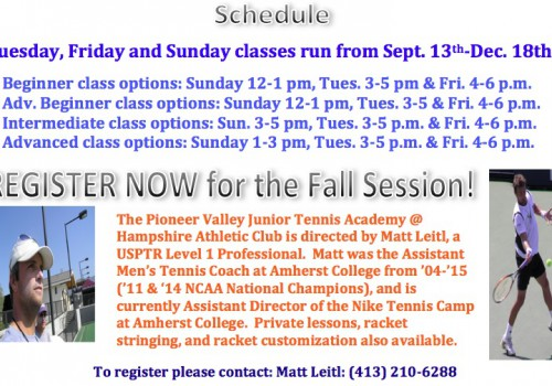 Fall 2016 Tennis Clinic Schedule with Matt Leitl